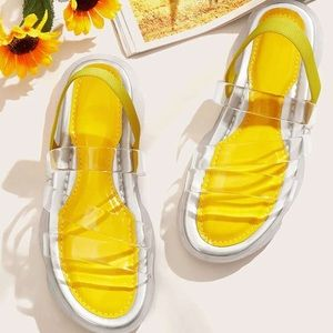 Yellow and clear sandals